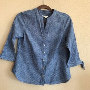 Westbound Petites denim button up blouse, sz PS